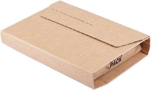 Wikkelverpakking CleverPack afm. 275x335x20/80 mm zelfklevende strip bruin 10 stuks.