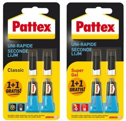 Secondelijm Pattex Classic + supergel tube 3gram op blister.