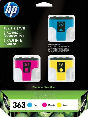 Inktcartridge HP CB333EE 363 3-kleurenset.