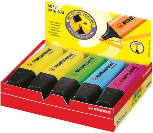 Markeerstift Stabilo Boss assorti kleuren 10 stuks: 4xgeel, 2xgroen, 2xblauw, 2xrose.