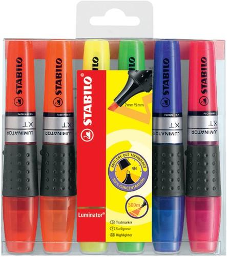 Markeerstift Stabilo Luminator XT assorti kleuren 6 stuks in etui.