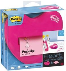Memoblokdispenser 3M Post-it Z-Notes 76x76mm hart roze.