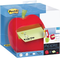 Memoblokdispenser 3M Post-it Z-Notes 76x76mm appel rood.