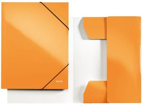 Elastomap Leitz WOW 3-kleps A4 karton oranje.