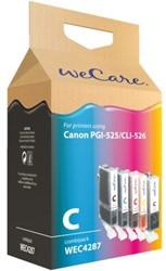 Inktcartridge WECARE CLI-526 PGI-525 zwart + 3 kleuren (Canon).