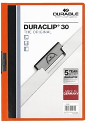 Klemmap Durable 2200 A4 3mm oranje. Afname per 25 stuks.
