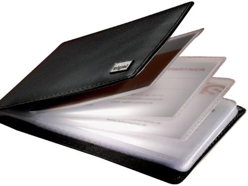 Visitekaartmap Sigel VZ201 Torino 75x110x16mm nappaleer zwart capaciteit 40 visitekaarten 58x90mm (541473).