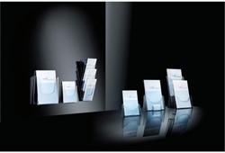 Folderstandaard Sigel LH132 A5 3-vaks glashelder acryl capaciteit 30mm.