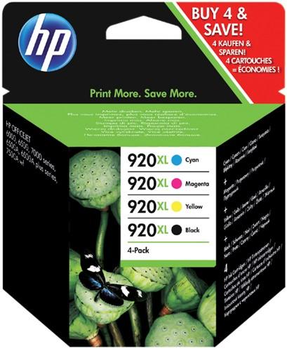 Inktcartridge HP C2N92AE 920XL zwart + 3 kleuren HC.
