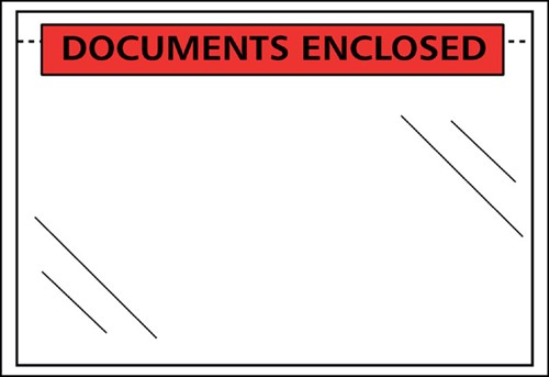 Paklijst envelop C5 230x157mm bedrukking: Documents enclosed 100 stuks.
