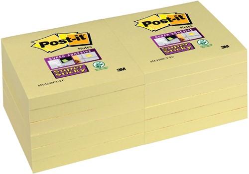 Memoblok 3M Post-it 654-SSY Super Sticky 76x76mm geel. Afname per 12 blokjes.