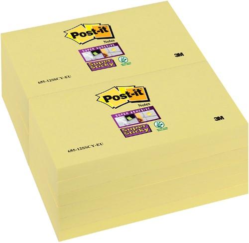 Memoblok 3M Post-it 655-SSY Super Sticky 76x127mm geel. Afname per 12 blokjes.