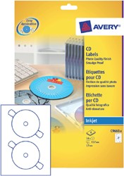 Etiket Avery C9660-8 CD wit hoog glans 16 stuks.