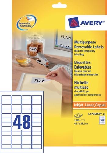 Etiket Avery L4736REV-25 45.7x21.2mm afneembaar wit 1200 stuks.