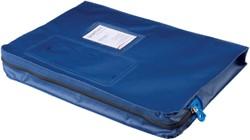 Verzendtas Recordpack met venster blauw.