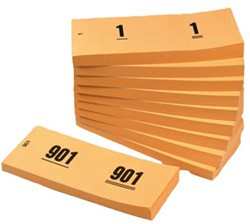 Nummerblok 42x105mm nummering 1-1000 oranje 10 blokjes.