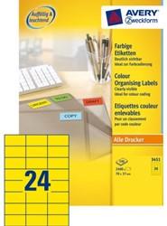 Etiket Avery Zweckform 3451 70x37mm geel 2400 stuks.