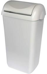 Afvalbak PrimeSource met swing deksel 23 liter wit.