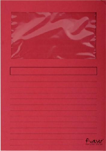 Insteekmap L-model Exacompta + venster karton rood 100 stuks.