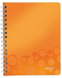 Notitieboek Leitz WOW A5 spiraalgebonden kunststof kaft oranje - 80 vel 80 grams gelijnd papier 4639-00-44.