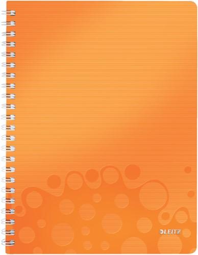 Notitieboek Leitz WOW A4 spiraalgebonden kunststof kaft oranje - 80 vel 80 grams gelijnd papier 4637-00-44.