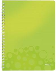 Notitieboek Leitz WOW A4 spiraalgebonden kunststof kaft groen - 80 vel 80 grams gelijnd papier 4637-00-64.