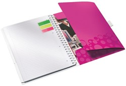 Notitieboek Leitz WOW Be Mobile A4 kunststof kaft roze - 80 vel 80 grams gelijnd papier 4644-00-23.