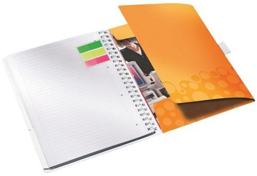 Notitieboek Leitz WOW Be Mobile A4 kunststof kaft oranje - 80 vel 80 grams gelijnd papier 4644-00-44.
