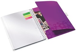 Notitieboek Leitz WOW Be Mobile A4 kunststof kaft paars - 80 vel 80 grams gelijnd papier 4644-00-62.