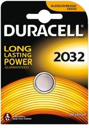 Knoopcel batterij Duracell CR2032 lithium.