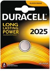 Knoopcel batterij Duracell CR2025 lithium 20mm 3V-170mAh.