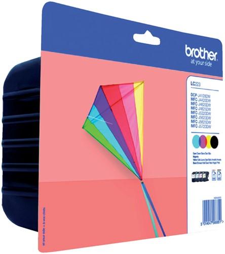 Inktcartridge Brother LC-223 zwart + 3 kleuren.