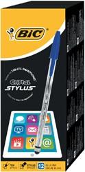 Balpen Bic Cristal stylus blauw.