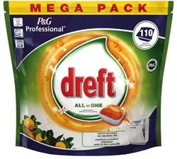 Vaatwastabletten Dreft all-in-1 Fresh orange 110 stuks.