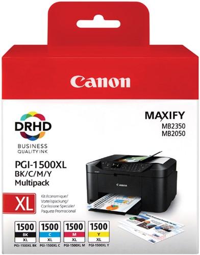 Inktcartridge Canon PGI-1500XL zwart + 3 kleuren HC.