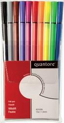 Viltstift Quantore rond 1.0mm assorti kleuren 10 stuks.