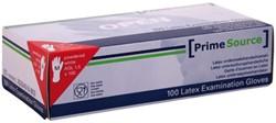 Handschoen PrimeSource Latex gepoederd Medium wit 100 stuks.
