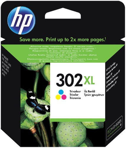 Inktcartridge HP F6U67AE 302XL kleur.