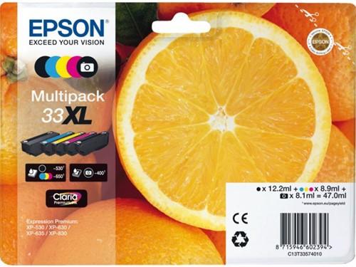 Inktcartridge Epson 33XL T335740 1x zwart + 1x fotozwart + 3 kleuren.