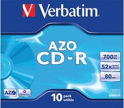 CD-R Verbatim 700MB 80min 52X jewelcase. Afname is per 10 stuks.