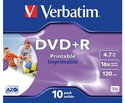 DVD+R Verbatim 4.7GB 16x printable jewelcase. Afname per 10 stuks.