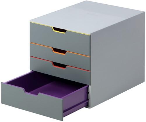 Ladenbox Durable Varicolor A4 4 laden grijze ombouw.