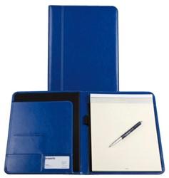 Schrijfmap Brepols Palermo A5 19,5x24,3cm inclusief schrijfblok - omslag lederlook koningsblauw.