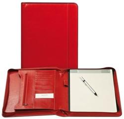 Schrijfmap Brepols Palermo A4 27x33cm met ritssluiting en schrijfblok - omslag lederlook rood.