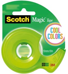 Plakbandafroller Scotch CC +1rol magic tape 19mmx19m assorti.