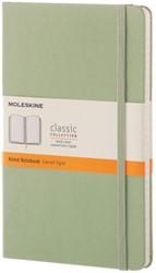 Notitieboek Moleskine Classic 21 x 13cm harde kaft groen- 120 vel ivoorkleurig gelijnd zuurvrij papier.