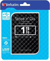 Harddisk Verbatim Store'n'go 1TB USB 3.0 zwart.