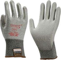 Handschoen snijbestendig Teaki 5 PU grijs extra large.