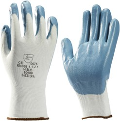 Handschoen grip Nitril foam wit/grijs medium. Afname per 5 paar.