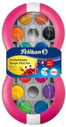 Dekverf Pelikan in roze doos assorti set à 12 napjes.